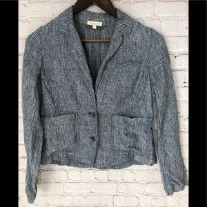 Eileen Fisher Railroad Stripe 100% Linen Jacket Xs